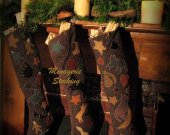 Menagerie Stocking only; printed pattern
