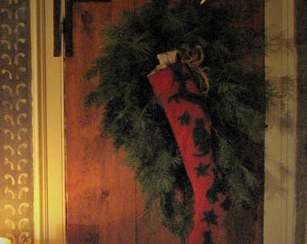 Country Christmas Stocking printed pattern