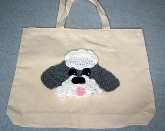 Sheep Dog Canvas Tote  - Dog Tote Bag- Pet Lovers Bag - Custom Tote Bag - Dog Lover Gift - Dog Moms Gift -