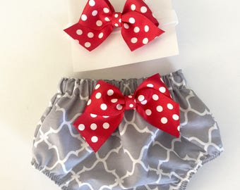 DIAPER COVER and HEADBAND set- red and grey New baby -- baby girls clothing