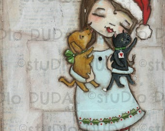 Print of my Original Christmas Rescued Pets Mixed Media Painting - The Gift of LIfe