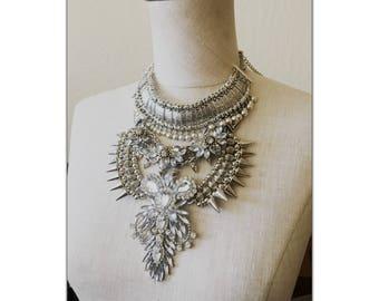 Multi Layered Brass boho Statement Necklace - Coin Necklace - Crystal Collar  - crystal statement bohemian