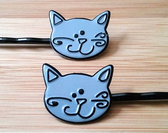 Cat Bobby Pins, Cat Hair Pins, Cat Barrettes, Cat Accessories, Hair Accessories, épingle à cheveux, horquilla, Kitten Slides, Kitty Pins