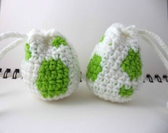 Crocheted Monster Egg Drawstring Pouch - White and Green