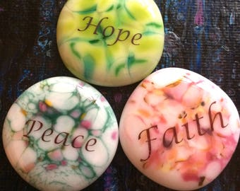 Peace Hope Faith Words of Inspiration Speckled Fused Glass Cabochons with FREE Shipping in the USA