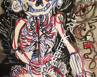 Mexican Folk Art Skeleton pen and ink original