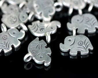 KA-094 thai karen hill tribe silver 4 elephant diecut charm