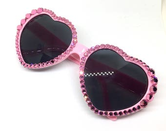 Bubblegum Pink Heart Shaped Crystal Sunglasses w/ Swarovski Crystals - Heart Frame Blinged Out Sparkly Light Pink Sunnies - Ready To Ship