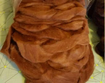 8 oz deep red huacaya alpaca roving JIM