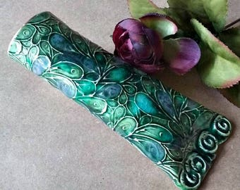 Ceramic wall Vase peacock green Wall Sconce Wall Hanging Vase bud vase