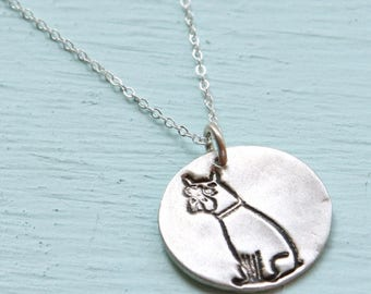 ON SALE BOXER dog silver pendant - illustration by Gemma Correll - handmade sterling silver necklace by Chocolate and Steel