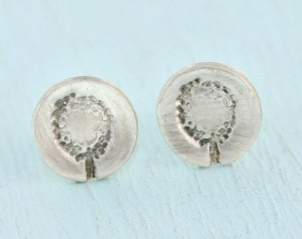 ON SALE petite DANDELION stud earrings, eco-friendly silver.  Handcrafted by Chocolate and Steel, handcrafted flower poppies dandelion artis