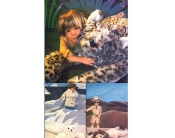 Vogue 510 Leopard Lion Tiger Polar Bear Brown Bear Stuffed Animal Rugs Vintage Sewing Pattern UNCUT