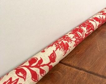 RED linen floral door draft stopper cover, draught excluder, breeze blocker