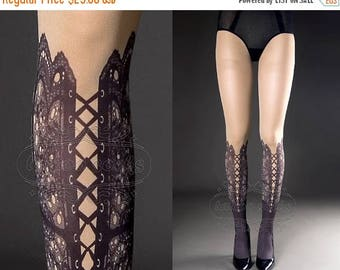 SALE///Happy2018/// Tattoo Tights,  nude color one size Lace Up print full length closed toe printed tights pantyhose, tattoo socks