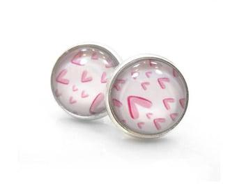 Pink Stud Earrings, Valentine Jewelry, Cute Earrings, Dangle Drop Earring, Pink Silver Post Earrings, Antique Brass Post Earrings - SO SWEET