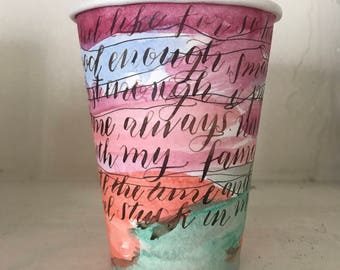 enough - art on coffee cup