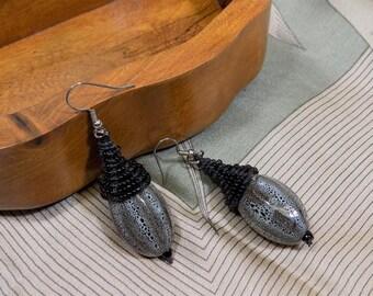 Beaded Micro Macrame EARRINGS, Ceramic Bead, Black, Animal Print