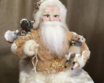 Handmade Santa from Spun Cotton on Chimney Keepsake Box Victorian Inspired OOAK Christmas Folk Art Decor