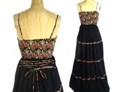 Vintage Bohemian Sundress Hippie Boho Maxi Summer Festival Dress Tiered Circle Skirt Smocked Black Indian Cotton Peasant Dress Small