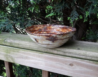 Birch bark display bowl rustic stoneware studio art pottery - by Earth N Elements Pottery