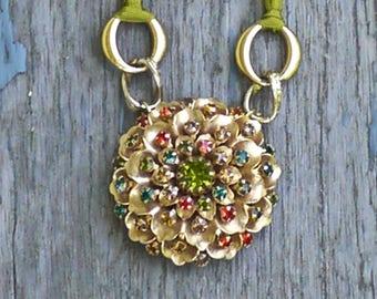 Necklace Brooche - Mixed Media Necklace- The Sunburst - Gorgeous Elegant One of a Kind Piece- Boho Wedding -
