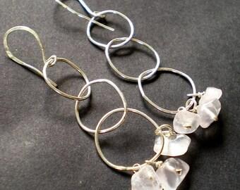 Meli Melo Rose Quartz Earrings with big organic handmade sterling silver chain loops, pink gemstones hoop earrings, long nuggets earrings