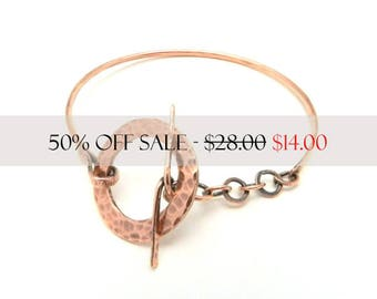 Adjustable Copper Bangle, Hammered Copper Bangle, Bangle Bracelet, Copper Bracelet, Hammered Bangle, Toggle Clasp Bracelet, By Durango Rose