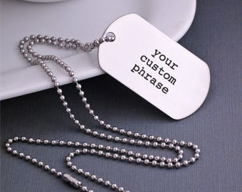 Design Your Own Custom Dog Tag Necklace, Men's Jewelry, Custom Gift for Him, Your Own Personalized Message Dog Tag Necklace
