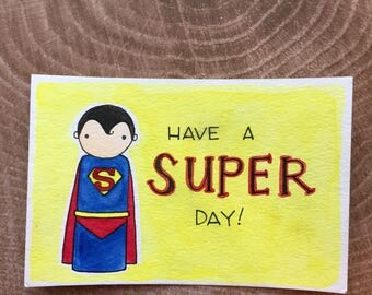 PegBuddies Postcard- Superman, Superhero, Super day