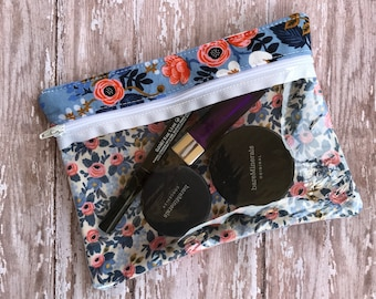 Clear Zipper Pouch Lipsense Bag Makeup Bag Gift For Her Floral Print First Aid Bag Clear Front Bag Rifle Paper Co