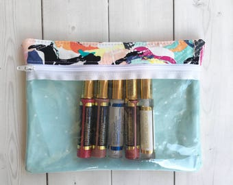 Lipsense Bag /Clear Zipper Pouch /Gift For Her /Cosmetic Bag /Floral Print /Art Supplies Bag /First Aid Bag /Clear Front Bag