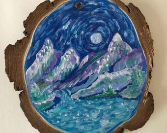 Mountain river scene hand painted ornament
