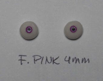 Hand Made Glass Like Eyes 4mm - Fairy Pink - for OOAK Art -Dolls  Pink-4mm