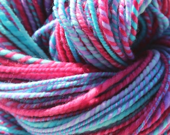 Bubble Gum, Hand Spun, Hand Dyed, Yarn, DK, Pink, Purple, Blue