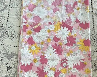 CUTTER retro mod flower power Pink White vintage bed sheet standard FULL FLAT