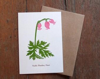 Botanical linocut blank card Pacific Bleeding Heart