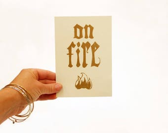 On Fire letterpress linocut wall art hand pulled print