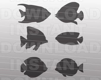 Tropical Fish SVG File,Aquarium SVG,Gold Fish svg -For Commercial & Personal Use- Vector Art SVG Cut File for Silhouette and Cricut Cutter