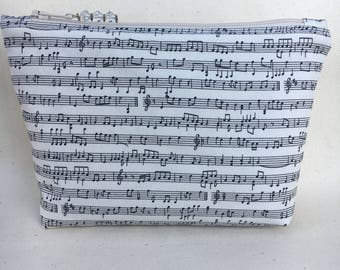 Music Notes Zippered Pouch / Cosmetic Bag