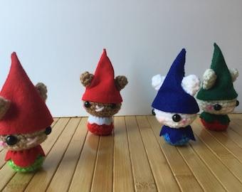 Little Elf Moon Bun - Amigurumi Chistmas Elf Bunny Rabbit Dolls with Ornament or Keychain Options