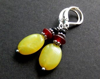 Lemon Jade Earrings, Leverback Black Onyx Dangles, Serpentine Lever Back Earrings