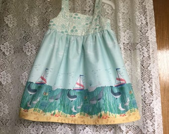Mermaid Summer Girl Dress Lewis and Irene Tale of the Sea Border Fabric Sizes 2 to 6