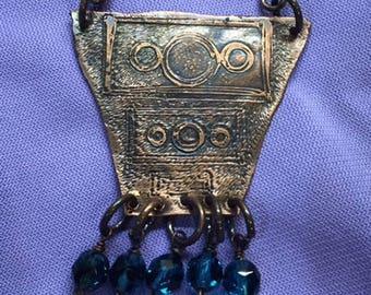 Unique Etched Copper Necklace