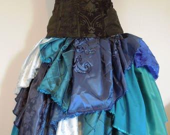 "Patchwork Petal Skirt ""Rhapsody in Blue"" Knee-Length"