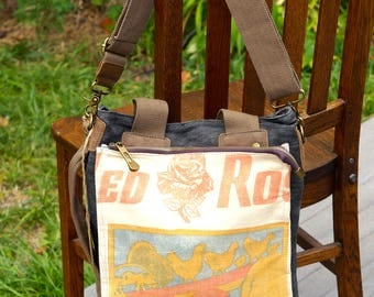 Red Rose Chicken Feed - Book Tote W- OOAK Canvas & Leather Tote .. Selina Vaughan