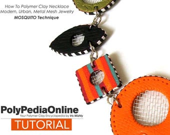 Polymer Clay Tutorial, Polymer Clay Jewelry, Handmade Necklace, DIY Craft, Beads, Fimo, Necklace Tutorial, Metal Mesh, Polymer Clay How To