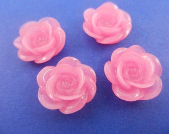 18mm round  resin rose flower cabochon pink color8 pieces 001