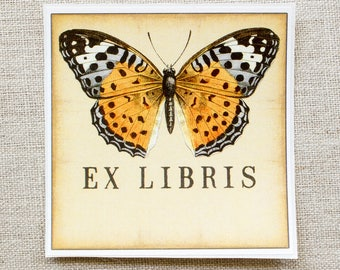 butterfly bookplate stickers - monarch book plates - ex libris - personalized bookplates -  book labels - gift book lovers - gift under 20