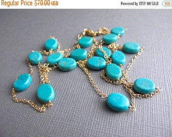ON SALE Turquoise and Gold Layering Necklace, Delicate Gold Jewelry, 14K Gold Filled Necklace